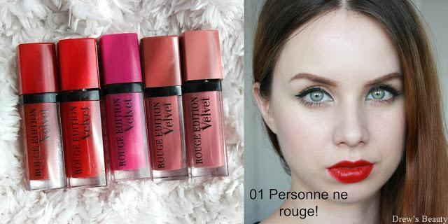 tekutý rúž rtenka recenzia recenze swatch bourjois rouge edition velvet 01 Personne ne rouge! 03 Red pepper 06 Pink pong 07 Nude-ist 10 Don't pink of it!