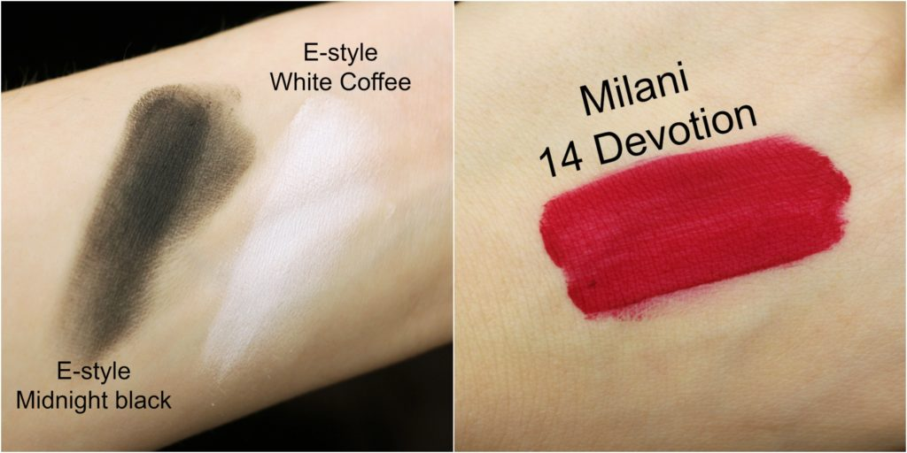 E-style white coffee midnight black milani 14 devotion swatch