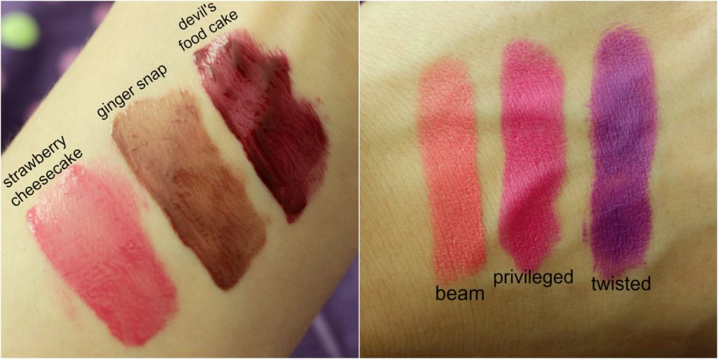 nyx butter gloss swatch beam privileged twisted ginger snap strawberry cheesecake devils food cake