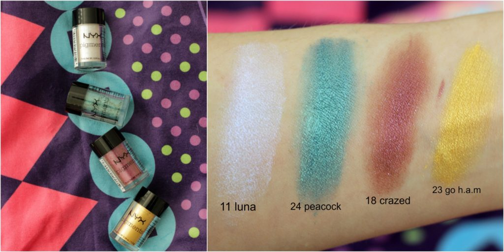 nyx pigment swatch 11 luna 24 peacock 18 crazed 23 go h.a.m