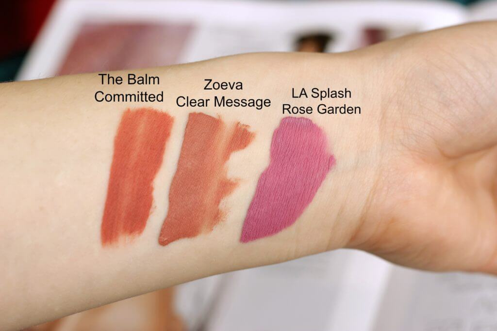swatch matný rúž rtenka the balm committed zoeva clear message la splash rose garden