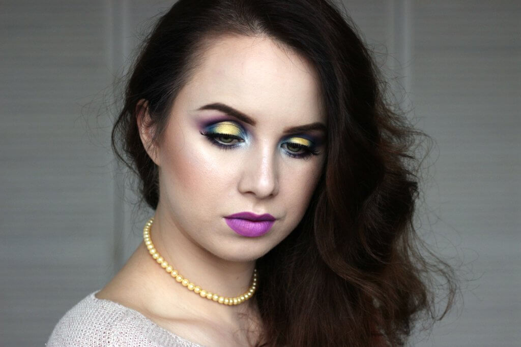 líčenie líčení vizáž inspirace makeup purple fialové žlté yellow halo juvias place the magic blog blogerka zelené oči green eyes