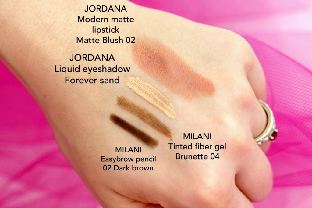 absolutecosmetics.eu recenze recenzia jordana modern matte matte blush liquid eyeshadow forever sand milani easybrow pencil dark brown tinted fiber gel brunette swatch swatches
