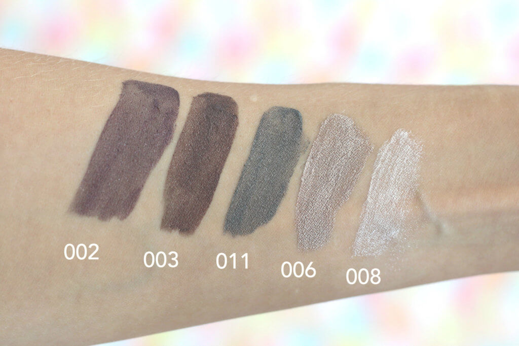 pupa made to last liquid eyeshadow tekuté tiene stíny swatch champagne bledé trblietavé shimmer 002 003 006 008 011